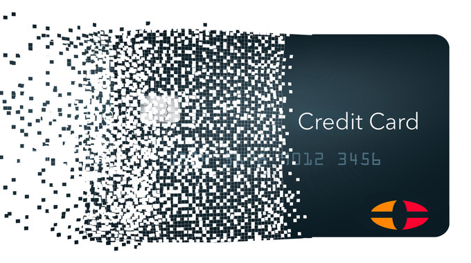 Virtuelle Kreditkarte die zerfällt